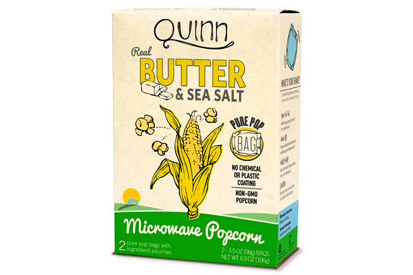 Quinn Snacks Real Butter Tastes Better Microwave Popcorn, Made With Grass-Fed Butter, 3.4 OZ (3 Count)